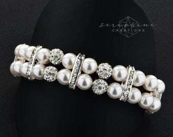 Bridal Pearl Bracelet Wedding Jewelry Wedding Cuff Bracelet Swarovski Pearls Cubic Zirconia Bling Rhinestone Brigitte B02