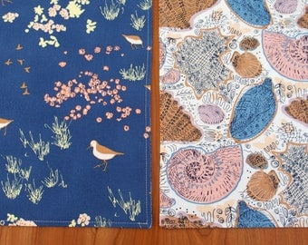 Nautical Placemats with Sand Pipers and Sea Shells in Dark Blue, Brown, Periwinkle, Pink, Bird Table Mats, Coastline Beachcomber Conchology