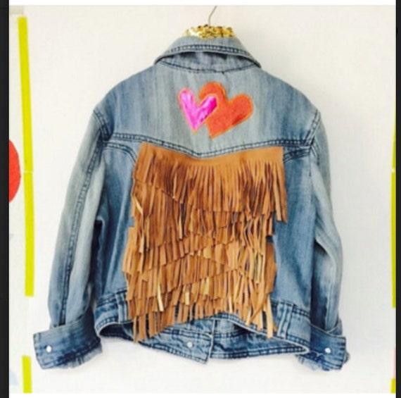 Custom Order Farah JUMP 7-8 Years Denim Jacket Upcycled Leather Fringe with African fabric Pom Pom Trim Unisex