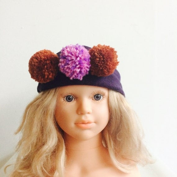 WARM 4-7 Years Headband Kids Merino Wool With Pom Poms in Upcycled Wool Unisex