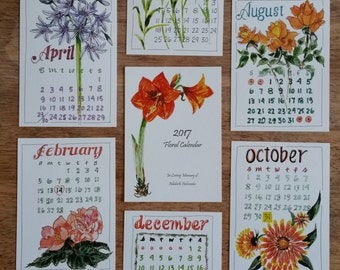 5 x 7 Floral Illustrated Calendar- A dedication to my Grandmother.