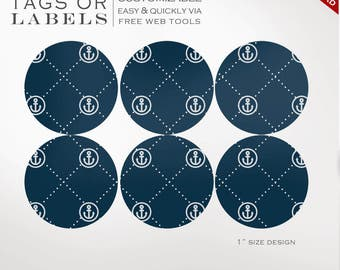 Round Sticker Labels - 1 Inch Round Nautical Label Template Kit - Labels Printable Envelope Seals Avery Silhouette Cricut LB1R AAC