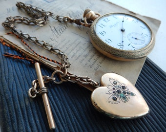 Antique Pocket Watch - Pocket Watch with Fob - Standard Pocket Watch - Gold Fill Watch - Heart Shaped Fob - Watch for Resstoration