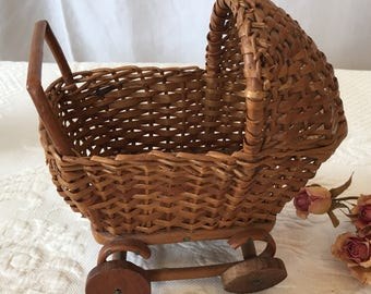 Vintage Miniature Wicker Baby Carriage. Wooden Wheels and Curled Bottom Carriage Design. Perfect for Cabbage Patch Mini Dolls.