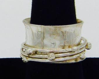 Handmade Whimsical Sterling Silver Spinner Ring