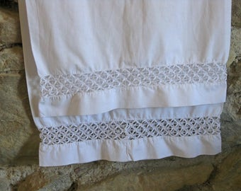 French bolster pillowcase with hand made lace bands - rustic French country style