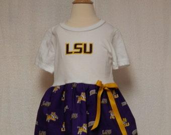 L S U Tigers toddler dress,L S U outfit,toddler dresses,infant dresses,L S U,football dress,L S U football,applique football dress