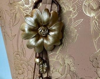 Summer bloom leather flower purse charm & keychain