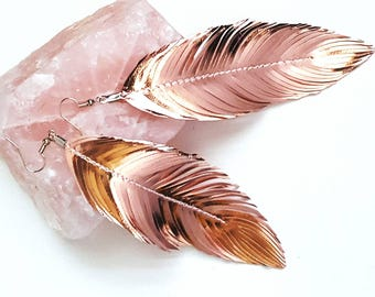 LIMITED Italian Rose Gold Foil Leather, Feather Earring, Bridal Accessories, Bridal, Leather Earring, leather Feather Earrings,  Bohemian
