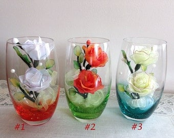 Handmade Nylon Flowers in Colorful Highball Glass