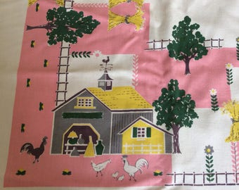 1940s Perfect Farm Themed Tablecloth