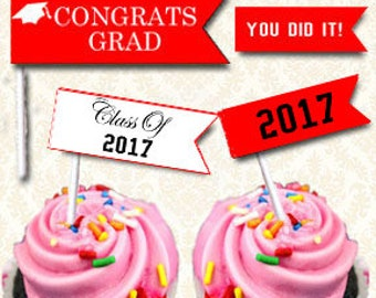 Graduation Party Cupcake Topper Flags, Class of 2017 Printable Food Flags, DIY Graduation Party Straw Flags, Red and Black Grad Decor