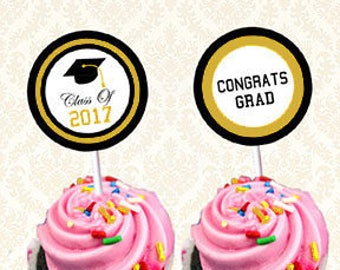 Graduation Cupcake Toppers - Class of 2017, Graduation Favor Tags, Gradparty Circle Tags, Black and Gold, DIY Printable, Digital Download