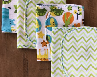 Cotton Baby Boy Girl Gender Neutral Burp Cloths - Set of 4 - Baby Shower Gift - Baby Gift