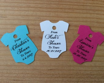 From Our Shower to Yours - Customized Baby Onesie Shower Favor Tags - Personalized Baby Shower Tags - Gift Tag - From My Shower To Yours