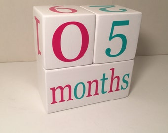 Baby Age Blocks, Wooden Milestone Blocks, Photo Prop, Bright Pink and Aqua or Custom Color