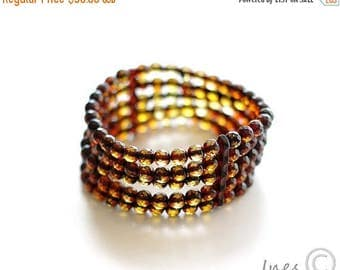 CHRISTMAS SALE Baltic Amber Bracelet Made of Tiny Faceted Round Amber Beads