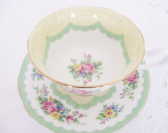 Vintage Royal Albert Crown China Prudence green, fancy teacup, spring tea parties green and yellow teacup, excellent condition
