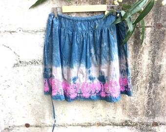 Indigo skirt, Size M/L, shibori dyed skirt, cotton skirt, upcycled women's skirt, naturally dyed clothing