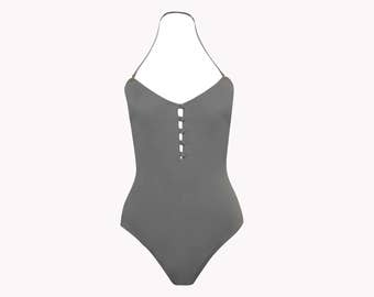 SAMPLE: elegant high leg swimsuit/dark titanium - cut for B and C-cups