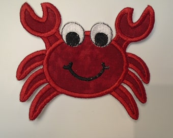Iron on or sew on applique or patch of  a crab