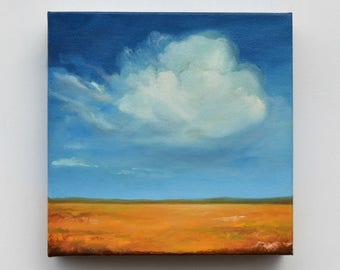 Landscape painting, oil painting, original art, clouds, home decor - Painting the Sky