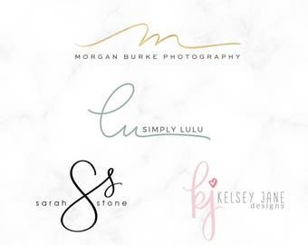 Initial Logo - Custom handwritten initial logo - monogram logo - script logo - handwritten logo - simple logo - Logo Design - wedding logo