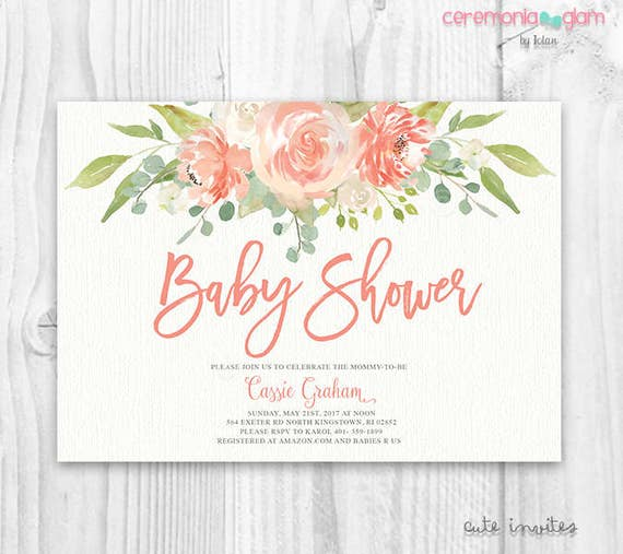 floral baby shower invitation floral boho baby shower,