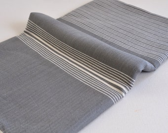 Tired of bulky towels? Vurla light weight peshtemal towel for beach and bath, multi purpose grey with white stripes