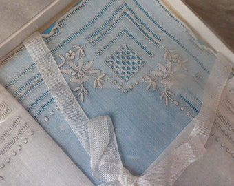 Embroidered Handkerchief,  Hand Made, Swiss Cotton Voile, beautiful, Unused Boxed, Vintage, Circa 1940's