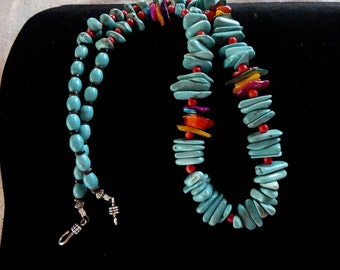 24 Inch Multiple Shaped Turquoise and Mother of Pearl Necklace with Earrings