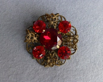 Rich Red 1930s Bohemia/Czech Crystal Glass Brooch