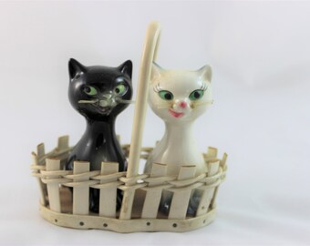 Goebel Salt & Pepper Shakers Black and White Kitty Cats in a Basket