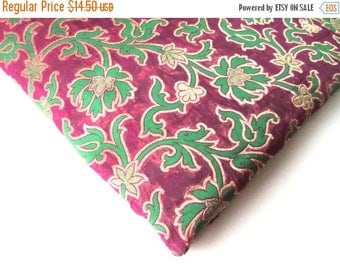 ON SALE green purple silk brocade flowers branches brocade India fabric nr 121 REMNANT