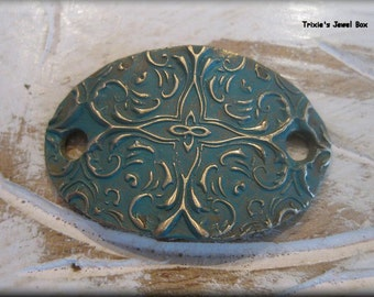 Handmade Solid Bronze  Rustic Bracelet Component - Teal Patina!