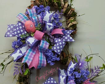 Easter Wreath,Easter Bunny,Tree Bark and Moss Frame Easter Bunny,Easter Rabbit,Welcome Easter Bunny