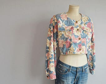 Vintage Paris Blues Jacket / 1980s Cabbage Rose Floral Print Cropped Jean Jacket