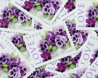 20 pieces - Vintage unused 2010 44 cent Pansies in A Basket - LOVE postage stamps - great for wedding invitations, save the dates