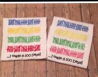 Machine Embroidered Hash Mark 100 Day of School Shirt