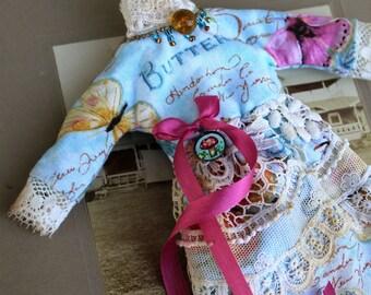 Blythe Doll Dress Butterfly Text Blue