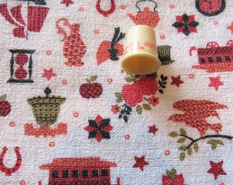 pink and red novelty print vintage cotton barkcloth fabric