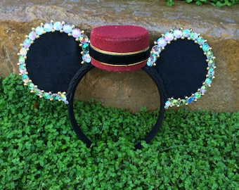 Ready to Ship Tower of Terror inspired Ears Floral Rose Mouse Ears Flower Crown Headband Hollywood Tower Hotel Bellhop