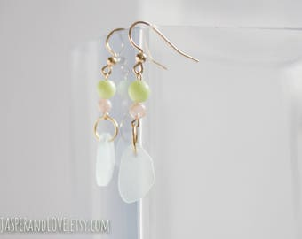 NOHEMI pastel dangle earrings, color block green and pink and blue drop earrings, 14kt gold filled earrings, recycled glass earrings