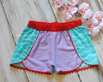 Ariel Inspired Shorts - Little Mermaid Coachella Shorts - Princess Outfit - Princess Shorts - Ariel Outfit - Ariel Birthday Outfit