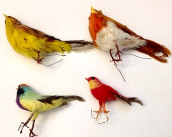 4 vintage birds for crafting art projects display holiday decor