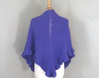 Knit Shawl Wrap, Bright Purple, Ruffle Flounce Edge, Hand Knit, Prayer Shawl, Triangle Shawl