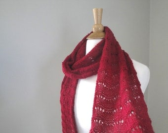 Red Alpaca Scarf, Lightweight Lace, Hand Knit, Luxury Natural Fiber, Elegant Long Scarf, Strawberry Red