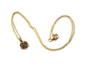 Single Rose Charm Pendant in Ancient Bronze Double Bale with Gold Filled Chain 17 Inches / Je T'Aimee Jewelry / Lost Wax Casting