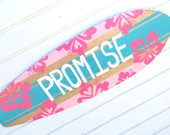 Surfer Themed Wall Art, Turquoise and Pink Surfboard Art, Beach Themed Bedroom Decor, 36 inch