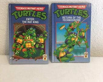 Vintage Book, Teenage Mutant Ninja Turtles Books, Set of Two Kids Novels